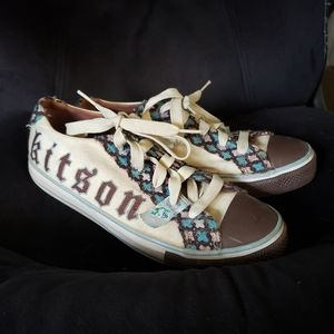 Kitson Canvas Lace Up Sneakers Size 8.5